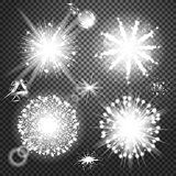 Creative concept Vector set of glow light effect stars bursts with sparkles isolated on black background. Illustration template art design, flash energy ray