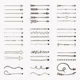 Set of Vector Black Hand Drawn Arrow Shaped Elements