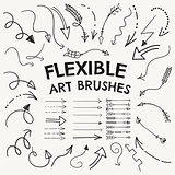 Vector Flexible Arrow Shaped Art Brushes Collection