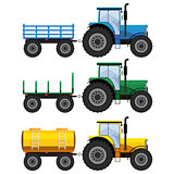 Set of farm tractors with wagons.