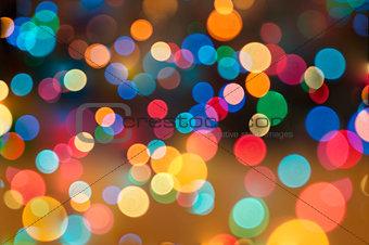 Abstract circular bokeh background of Christmas lights