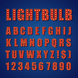Retro Lightbulb Alphabet Vector Font Type letters