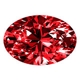 Ruby Oval Over White Background