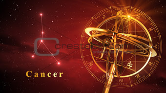 Armillary Sphere And Constellation Cancer Over Red Background