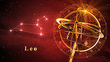 Armillary Sphere And Constellation Leo Over Red Background