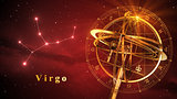 Armillary Sphere And Constellation Virgo Over Red Background