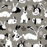 Beautiful pattern with rabbits