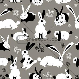 Beautiful pattern with rabbits