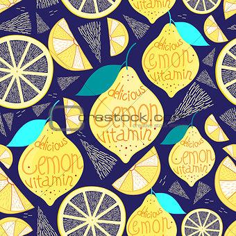 Bright pattern of lemons