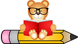Teddy bear reading book sitting on pencil