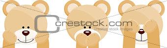 Three faces teddy bears