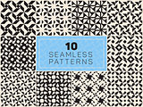 Set of Ten Vector Seamless Black and White Geometric Patterns
