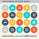 Multimedia devices icon set. Multicolored flat buttons
