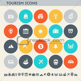 Tourism icon set. Multicolored flat buttons