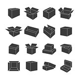 Set of icons of boxes, vector illustration.