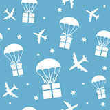 Cartoon airplanes and parachutes with gift boxes