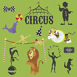 Circus performance decorative icons set with athlete animals magician