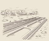 The parallel path rail railroad.