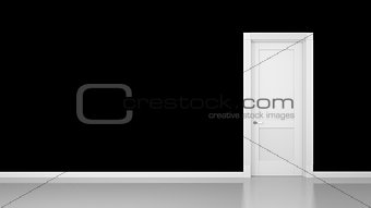 black wall and door background