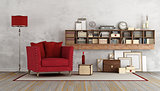 Retro living room with red armchair