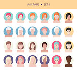 Woman face avatars set