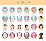Woman face avatars set