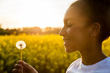 Mixed Race African American Girl Teenager Dandelion Flower