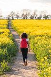 Mixed Race African American Girl Teenager Hiking