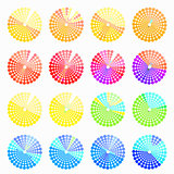 Set circular color different shades of blue vector illustration