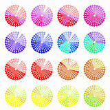 Set circular color different shades of red vector illustration