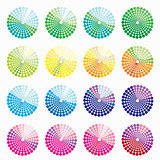 set of different colored circular blue vector illustration