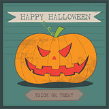 Grunge cartoon jack o lantern smiley halloween background