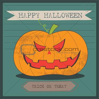 Grunge cartoon jack o lantern smiley halloween background