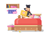 Girl with laptop in bedroom
