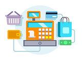 Cash register ocncept illustration