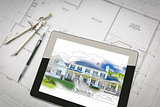 Computer Tablet Showing House Illustration On House Plans, Penci