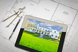 Computer Tablet Showing House Image On House Plans, Pencil, Comp