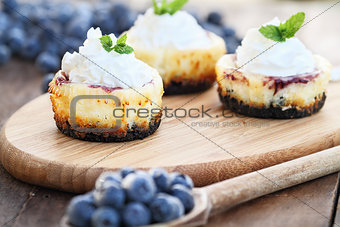 Three Mini Blueberry Cheesecakes
