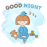 Vector sleeping girl with toys poster. Little kid good night card.