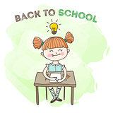 Vector little girl educational poster. Back to school illustration