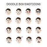 Vector cute doodle heads set. Boy emoticons collection. Emoji icons