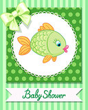 cute baby fish card draw vector
