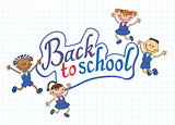 banner back to school boy girl pupil lettering logo vector