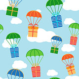 Cartoon colorful parachutes with gift boxes