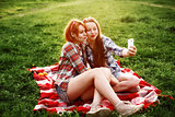 Girls Having Fun Making Selfie