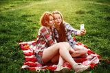 Girls Having Fun Making Selfie