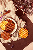 Waffles with Chocolate Icing with Coffee
