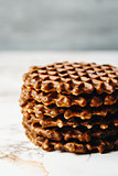 Stack of Homemade Waffles Close Up
