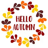 Hello autumn wreath vector card