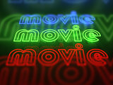 Movie neon glowing sign set isolated on black background